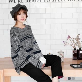 Striped Chunky Knit Sweater 1053154778