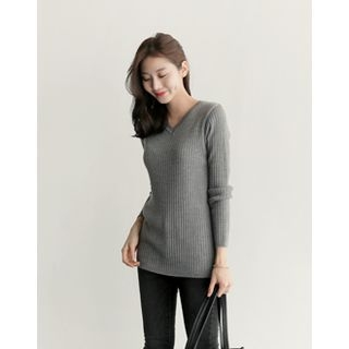 V-Neck Ribbed Knit Top 1055407957