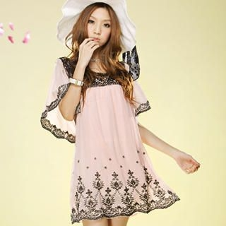 Buy Tokyo Fashion Bell-Sleeve Embroidered Chiffon Dress 1022937356