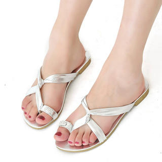Buy KAWO Rhinestone Metallic Thong Sandals 1022893168