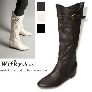 Buy Wifky Buckled Detail Mid-Calf Boots 1021579470