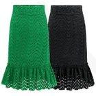Lace Ruffle Hem Midi Skirt 1596