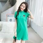 Flower Embroidered Short Sleeve Collared Dress 1596