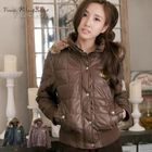 Faux-Fur Leopard-Trim Removable Hooded Padded Jacket 1596