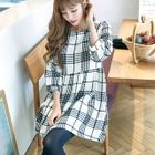 3/4 Sleeve Plaid Mini Dress 1596
