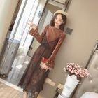 Set: Embellished Velvet Midi Dress + Strappy Lace Dress 1596