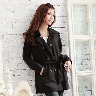 Image of Wool-Blend Double-Breasted Trench Coat