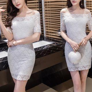 Elbow-Sleeve Lace Sheath Dress 1064188767