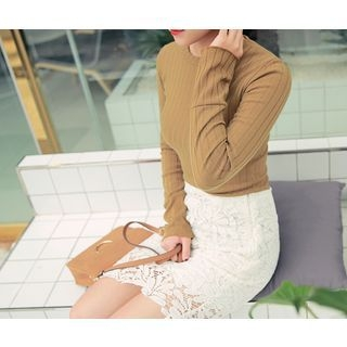 Round-Neck Ribbed Top 1053945211
