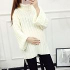 Maternity Turtleneck Ribbed Long Sweater 1596