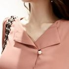 V-Neck Faux-Pearl Button Blouse 1596