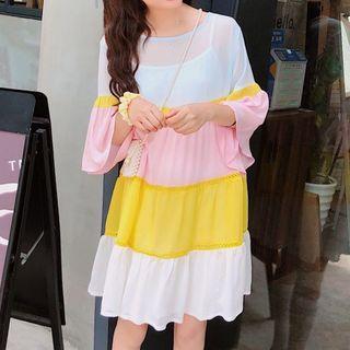 Chiffon   Yellow   White   Dress   Pink   Size   One