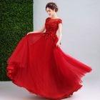 Cap-Sleeve Embellished Applique WeddiNG Dress 1596