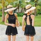 Open Back Lace Swim Dress 1596