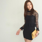 Long-Sleeved Cutout Shoulder Lace Dress 1596