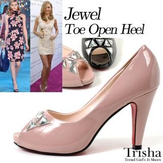Picture of Trisha Bejeweled Open-Toe Patent Pumps 1022486738 (Pump Shoes, Trisha Shoes, Korea Shoes, Womens Shoes, Womens Pump Shoes)