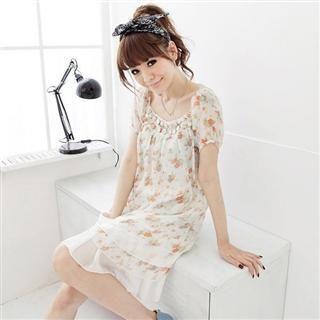 Buy MARLOCA Button Trim Floral Print Dress 1022595817