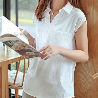 V-Neck Short-Sleeve Blouse 1050947517