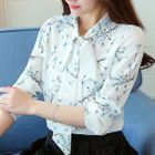 Floral Print Bow Long-Sleeve Blouse 1596