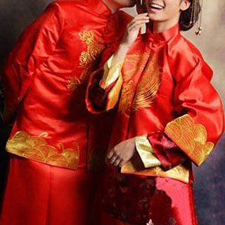 Matching Couple Embroidered 2-Piece Chinese Wedding Cheongsam