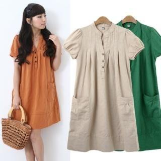 Buy Queen's Look Puff-Sleeve Linen Dress 1022796695