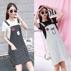 Set: Print Short Sleeve T-Shirt + Striped Pinafore Dress 1596