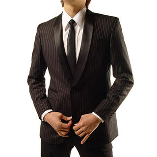 Buy Purplow Pinstriped Tuxedo Jacket 1004594086