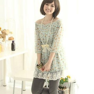 Picture of CatWorld Lace-Hem Floral Print Chiffon Tunic 1022574212 (CatWorld Dresses, Womens Dresses, Taiwan Dresses, Chiffon Dresses, Tunics)