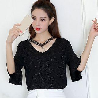 V-neck Short-Sleeve Chiffon Top 1060911009
