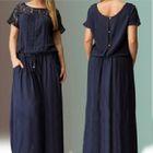 Crochet Lace Panel Short-Sleeve Maxi Dress 1596