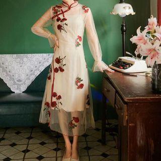 Image of Set: Slipdress + Flower Embroidered Long-Sleeve Midi A-Line Dress
