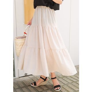Band-Waist Long Skirt 1061498432