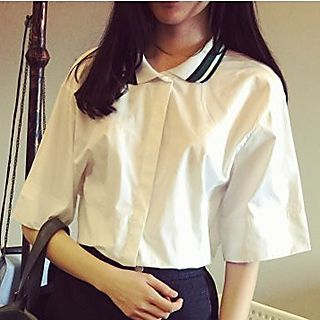collared-elbow-sleeve-blouse