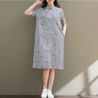 Embroidered Short-Sleeve Collared Dress 1596
