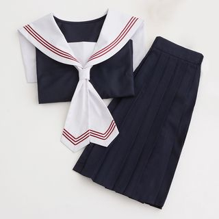 Image of Set: Sailor Collar Top + Pleated Skirt