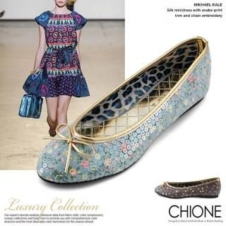 Buy Chione Beribboned Floral-Print Flats 1022199205