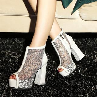 Mesh Panel Peep Toe Platform Ankle Boots picture