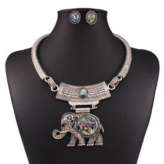 Set: Elephant Necklace + Earrings 1053812520