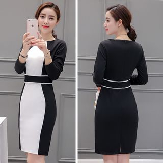 Panel Long-Sleeve Dress