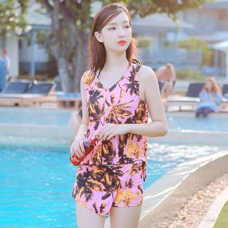 Set: Plain Bikini Top + Printed Swim Skort + Cover-Up Top 1058183159