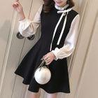 Long-Sleeve Two-Tone A-Line Mini Dress 1596