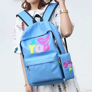 Set of 2: Printed Canvas Backpack + Zip Pouch