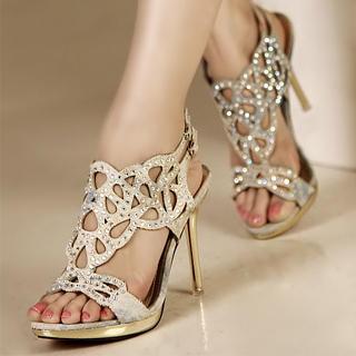 Buy Kvoll Rhinestone Cutout Sandals 1023009648
