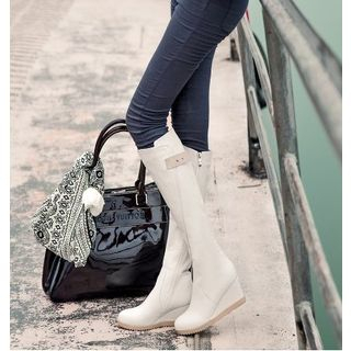 Faux Leather Wedge Long Boots 1038110582