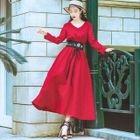 Long-Sleeve V-Neck Maxi Dress 1596