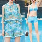 Set: Print Bikini + Embroidered Top + Shorts 1596