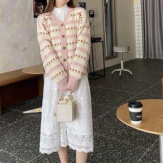 Long-sleeve   Cardigan   Skirt   Set   Top