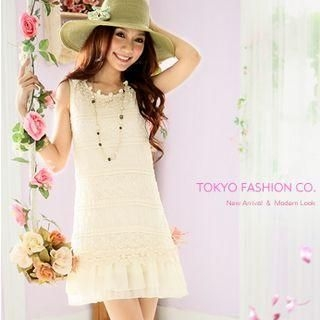 Buy Tokyo Fashion Sleeveless Lace-Panel Dress 1022732168