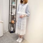 Maternity Set: Elbow-Sleeve T-Shirt Dress + Lace Pinafore Dress 1596
