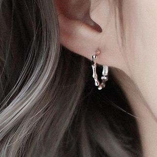 Image of 925 Sterling Silver Bamboo Hoop Earring 1 Pair - 925 Silver - One Size